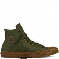 Кеды Converse All Star II темно-зеленые высокие
