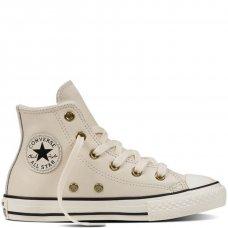 Белые высокие кожаные кеды Converse с мехом