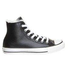 Зимние высокие кожаные кеды Converse с мехом | All Star Leather Black Fur